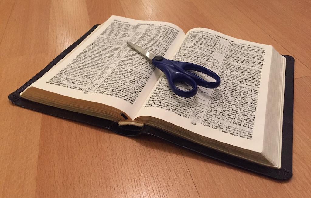 Scissors on a Bible